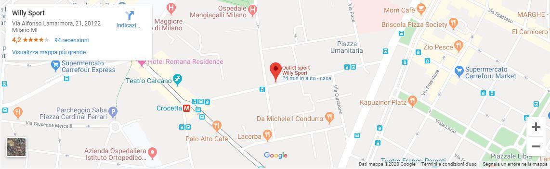 mappa willy sport a milano